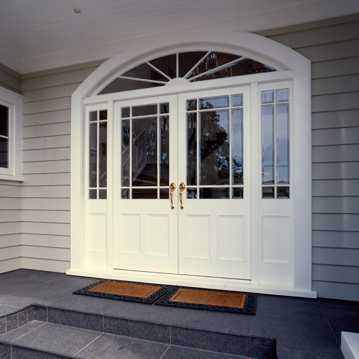 Traditional Entrance double door with side lights and radial fanlight